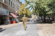 Israel, Jerusalem, Soldier Ben Yehuda pedestrian street