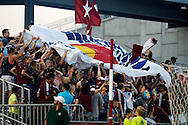 August 4, 2012: Colorado Rapids fans celebrate after midfielder Joseph Nane (5) scored his first MLS goal in the first half against Real Salt Lake at Dick's Sporting Goods Park in Denver, Colorado.  The Rapids would go on to win 1-0