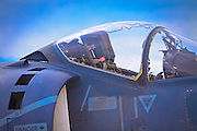"""Canopy of a US Marine Harrier """"Jump"""" jet.  This aircraft can take off and land vertically, and has been a mainstay of Marine aviation operations for decades.  <br /> <br /> Created by aviation photographer John Slemp of Aerographs Aviation Photography. Clients include Goodyear Aviation Tires, Phillips 66 Aviation Fuels, Smithsonian Air & Space magazine, and The Lindbergh Foundation.  Specialising in high end commercial aviation photography and the supply of aviation stock photography for advertising, corporate, and editorial use."""