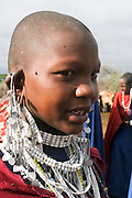 Africa, Tanzania, Maasai an ethnic group of semi-nomadic people female with ornaments