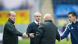 Brechin City manager Ray McKinnon and Falkirk's manager Peter Houston at the end.<br /> Falkirk 2 v 1 Brechin City, Scottish Cup fifth round game played today at The Falkirk Stadium.