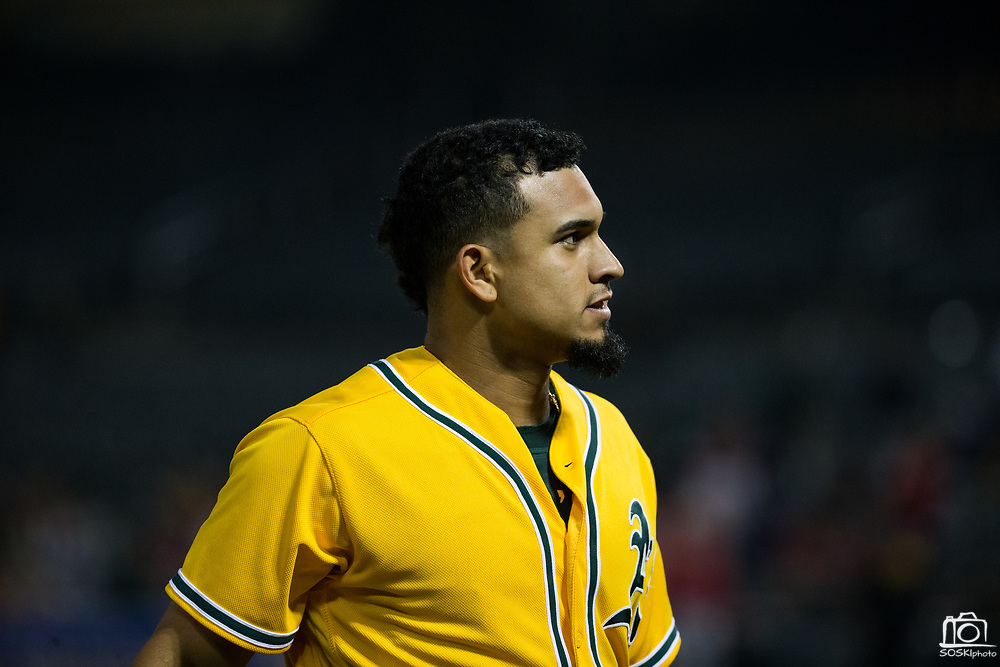 Oakland Athletics shortstop Franklin Barreto (1) walks to the dugout between innings against the Los Angeles Angels at Oakland Coliseum in Oakland, California, on September 5, 2017. (Stan Olszewski/Special to S.F. Examiner)