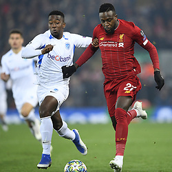 November 5, 2019, Liverpool, UNITED KINGDOM: Genk's Carlos Cuesta and Liverpool's Divock Origi fight for the ball during a soccer game between English club Liverpool FC and Belgian team KRC Genk, Tuesday 05 November 2019 in Liverpool, United Kingdom, game 4/6 in Group A of the group stage of the UEFA Champions League. BELGA PHOTO YORICK JANSENS (Credit Image: © Yorick Jansens/Belga via ZUMA Press)