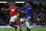 Eden Hazard of Chelsea (R) battles with Michael Mancienne of Nottingham Forest (L). Carabao Cup 3rd round match, Chelsea v Nottingham Forest at Stamford Bridge in London on Wednesday 20th September 2017.<br /> pic by Steffan Bowen, Andrew Orchard sports photography.