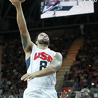 02 August 2012: USA Deron Williams goes for the layup during 156-73 Team USA victory over Team Nigeria, during the men's basketball preliminary, at the Basketball Arena, in London, Great Britain.
