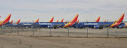 Working move around Southwest MAX8's jets to make more room for more arriving Wednesday at Victorville airpot. The jets are grounded till the new software is installed and tested from Boeing officials.  Victorville CA. March 27,2019. Photo by Gene BlevinsZumaPress. (Credit Image: © Gene BlevinsZUMA Wire)