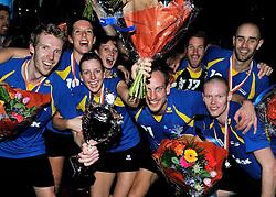 21-04-2012 KORFBAL: KZ HILTEX - PKC HAGERO: ROTTERDAM<br /> KZ wint de Ahoy finale met 20-19 van PKC - Vreugde bij Bart Nieuwenweg, Kim Cocu, Roxanna Detering, Andre Kuipers, Tim Bakker en Rick Voorneveld<br /> ©2012-FotoHoogendoorn.nl