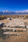 Stone steps at the site of the Manzanar Hospital under Mt. Williamson, Manzanar War Relocation Center National Historic Site, Owens Valley, California