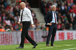 Burnley manager Sean Dyche (left) and Southampton manager Mark Hughes during the game