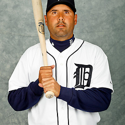 February 28, 2012; Lakeland, FL, USA; Detroit Tigers catcher Gerald Laird (9) poses for photo day in the rec room at the Detroit Tigers Headquarters.  Mandatory Credit: Derick E. Hingle-US PRESSWIRE