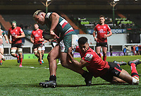 Rugby Union - 2020 / 2021 European Rugby Challenge Cup - Semi-final - Leicester vs Ulster - Welford Road<br /> <br /> Leicester Tigers' Ellis Genge evades the tackle of Ulster Rugby's Rob Baloucoune to score his sides second try.<br /> <br /> COLORSPORT/ASHLEY WESTERN