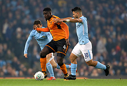 Wolverhampton Wanderers' Alfred N'Diaye and Manchester City's Sergio Aguero (right)