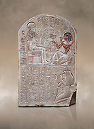 Ancient Egyptian stele dedicated to the god Khonsu by draftsman Pay, limestone, New Kingdom, 19th Dynasty, (1279-1213 BC), Deir el-Medina, ODrovetti cat 1553. Egyptian Museum, Turin. .<br /> <br /> If you prefer to buy from our ALAMY PHOTO LIBRARY  Collection visit : https://www.alamy.com/portfolio/paul-williams-funkystock/ancient-egyptian-art-artefacts.html  . Type -   Turin   - into the LOWER SEARCH WITHIN GALLERY box. Refine search by adding background colour, subject etc<br /> <br /> Visit our ANCIENT WORLD PHOTO COLLECTIONS for more photos to download or buy as wall art prints https://funkystock.photoshelter.com/gallery-collection/Ancient-World-Art-Antiquities-Historic-Sites-Pictures-Images-of/C00006u26yqSkDOM