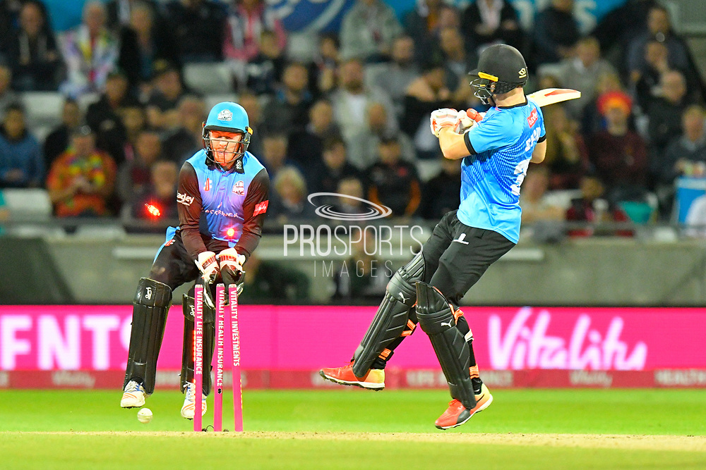 Wicket - Laurie Evans of Sussex tries a ramp shot and is bowled by Ed Barnard of Worcestershire during the final of the Vitality T20 Finals Day 2018 match between Worcestershire Rapids and Sussex Sharks at Edgbaston, Birmingham, United Kingdom on 15 September 2018.