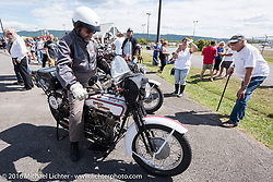 Vinnie Grasser of FL on his 1916 Harley-Davidson during the Motorcycle Cannonball Race of the Century. Stage-2 from York, PA to Morgantown, WV. USA. Sunday September 11, 2016. Photography ©2016 Michael Lichter.