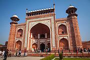 The main entrance gate to the Taj Mahal, Agra India