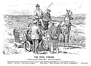 "The Rival Forces. Scene — lonely Yorkshire Moor. Miles from anywhere. Passing horse-dealer (who has been asked for a tow by owners of broken-down motor-car). ""Is it easy to pull?"" Motorist. ""Oh, yes. Very light indeed!"" Horse-dealer. ""Then supposin' you pull it yourselves!"" [Drives off."