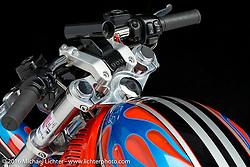 Joe Glaze's blue and orange Harley-Davidson V-Rod Destroyer drag bike. Photographed by Michael Lichter in Boulder, CO on December 20, 2016. ©2016 Michael Lichter.
