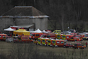German Plane Crash<br />French emergency services workers and members of the French gendarmerie gather in Seyne, south-eastern France near the site where a Germanwings Airbus A320 crashed in the French Alps<br />©Exclusivepix media