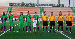 20 June 2015. New Orleans, Louisiana.<br /> National Premier Soccer League. NPSL. <br /> Jesters 1 - Knoxville 1.<br /> Amos Liles with the The New Orleans Jesters as they prepare to play Knoxville Force at home in the Pan American Stadium. Jesters drew 1-1 with Knoxville.<br /> Photo; Charlie Varley/varleypix.com