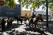 Police horses rotate shifts during the Melbourne Freedom Rally at Parliament House. Police move into position on the steps of state parliament ahead of a planed protest. The groups who have organised the many Freedom Day protests over the last 3 months, attempted to march on State Parliament during Melbourne Cup Day demanding the sacking of Premier Daniel Andrews for the lockdown and attacks on their civil liberties. Police met with the protester's with significant force despite the city having had zero cases for five days. (Photo by Dave Hewison/Speed Media)