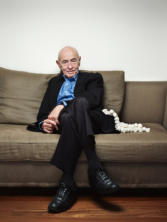 "Paris, France. August 27, 2014. Walter Mischel, psychologist, especially known for his ""Marshmallow experiment"", in his home. Photo: Antoine Doyen"