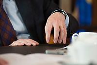 14 JUN 2016, BERLIN/GERMANY:<br /> Haende von Thomas de Maiziere, CDU, Bundesinnenminister, waehrend einem Interview, in seinem Buero, Bundesministerium des Inneren<br /> IMAGE: 20160614-01-027<br /> KEYWORDS: Büro, Thomas de Maizière, Hand, Hände