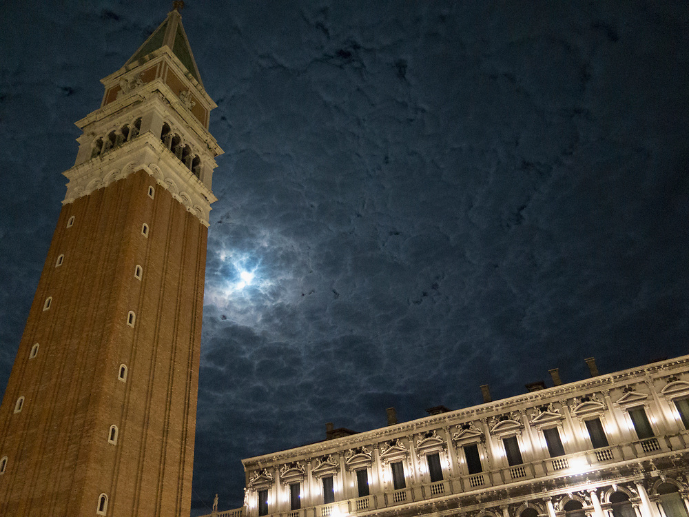 Night view of the Campanile on the Piazza San Marco, or St. Marks Square, Venice, Italy