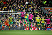QPR defender Toni Leistner (37) heads clear during the EFL Sky Bet Championship match between Norwich City and Queens Park Rangers at Carrow Road, Norwich, England on 6 April 2019.