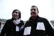 Charlton Athletic fan's protesting outside The Valley Stadium  against club owner Roland Duchâtelet and Katrien Meire, the Charlton Athletic chief executive by wearing Black & White scarfs to ask the chief executive to spell it out to the fans in Black & White.Skybet football league championship match, Charlton Athletic v Nottingham Forest at The Valley  in London on Saturday 2nd January 2016.<br /> pic by John Patrick Fletcher, Andrew Orchard sports photography.