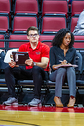 BLOOMINGTON, IL - November 22: Karl Rosch and TIFFANE' JACKSON during a college Women's volleyball match between the ISU Redbirds and the Sycamores of Indiana State on November 22 2019 at Illinois State University in Normal, IL. (Photo by Alan Look)