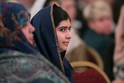 © Licensed to London News Pictures. 15/12/2015. Birmingham, UK. Malala Reception. Pictured,Malala Yousafzai. One year on from the tragedy of the Taliban attack on the Army Public School (APS) Peshawar, Nobel Prize winner and teenage activist, Malala Yousafzai and her family hosted a special reception to mark the anniversary of one of the deadliest terrorist attacks in Pakistan.The commemorative reception held today was attended by Ahmad Nawaz and Muhammad Ibrahim Khan, two of the young survivors of the tragedy, along with Malala Yousafzai, the peace and education activist, who has made Birmingham her adopted home. As part of the commemorative ceremony, members of the public are being asked to wear a white poppy, representing the global mark of peace. Photo credit : Dave Warren/LNP