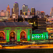 Kansas City, Missouri skyline panoramic in November 2020.