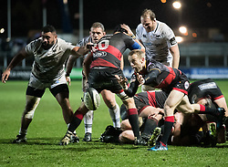 Dragons' Sarel Pretorius gets the ball away<br /> <br /> Photographer Simon King/Replay Images<br /> <br /> Guinness Pro14 Round 12 - Dragons v Cardiff Blues - Sunday 31st December 2017 - Rodney Parade - Newport<br /> <br /> World Copyright © 2017 Replay Images. All rights reserved. info@replayimages.co.uk - http://replayimages.co.uk