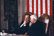 Washington, DC 1985/02/06 Vice President  George HW Bush and Speaker Tip O'Neil talk before  President Ronald Reagan's State of the Union addess .<br /><br /><br />Photo by Dennis Brack