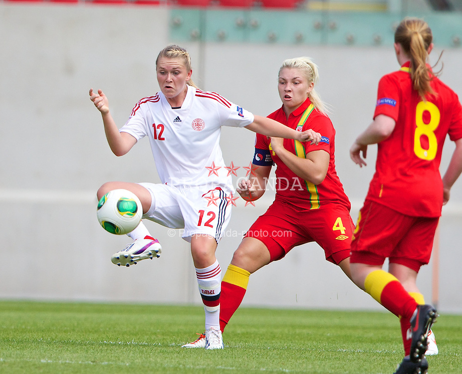LLANELLI, WALES - Monday, August 19, 2013: Denmark's Amalie Gronbaek Thestrup in action against Wales during the opening Group A match of the UEFA Women's Under-19 Championship Wales 2013 tournament at Parc y Scarlets. (Pic by David Rawcliffe/Propaganda)
