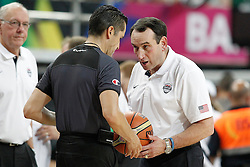 11.09.2014, City Arena, Barcelona, ESP, FIBA WM, USA vs Litauen, Halbfinale, im Bild USA's coach Mike Krzyzewski have words with the referee // during FIBA Basketball World Cup Spain 2014 semi-final match between United States and Lithuania at the City Arena in Barcelona, Spain on 2014/09/11. EXPA Pictures © 2014, PhotoCredit: EXPA/ Alterphotos/ Acero<br /> <br /> *****ATTENTION - OUT of ESP, SUI*****
