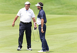 June 24, 2018 - Cromwell, CT, U.S. - CROMWELL, CT - JUNE 24: Bubba Watson of the United States of the United States shares a laugh with a reporter during the Final Round of the Travelers Championship on June 24, 2018 at TPC River Highlands in Cromwell, CT (Photo by Joshua Sarner/Icon Sportswire) (Credit Image: © Joshua Sarner/Icon SMI via ZUMA Press)