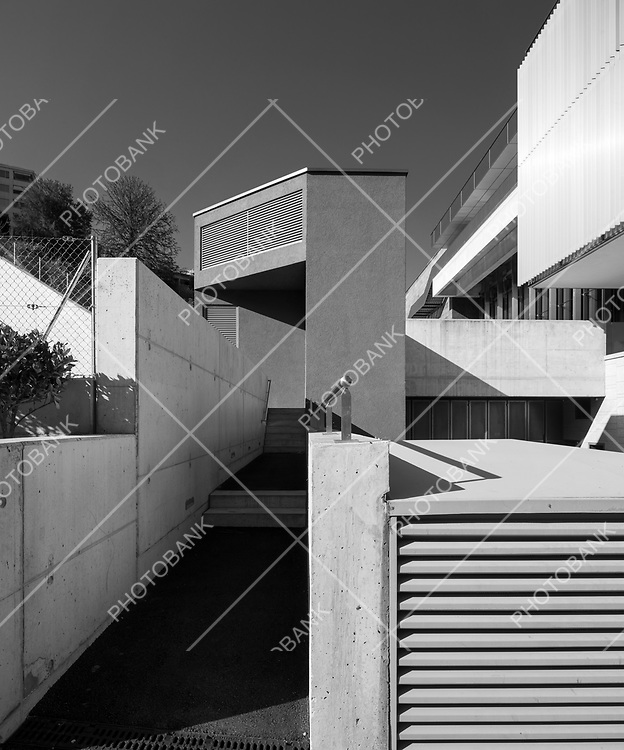 Detail of a part of the city of Lugano, alternative and suburban architectural space.