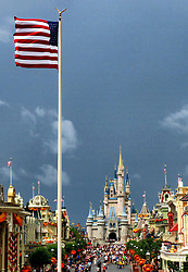 The American flag whips in the wind shortly before the Magic Kingdom at Walt Disney World in Lake Buena Vista, Fla., closed early due to weather spawned by Hurricane Dorian, Tuesday, September 3, 2019. Photo by Joe Burbank/Orlando Sentinel/TNS/ABACAPRESS.COM