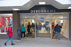 © Licensed to London News Pictures. 02/12/2020. <br /> Gravesend, UK. Shoppers head to Debenhams in Gravesend, Kent to grab a bargain as lockdown ends and Kent move into tier three. Debenhams has lost JD Sports as a buyer and is going into administration. The high street giant has opened its doors today to begin a fire sale before all 124 UK stores close. Photo credit:Grant Falvey/LNP