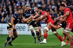 Marco Mama of Bristol Rugby takes on the Worcester Warriors defence - Photo mandatory by-line: Patrick Khachfe/JMP - Mobile: 07966 386802 27/05/2015 - SPORT - RUGBY UNION - Worcester - Sixways Stadium - Worcester Warriors v Bristol Rugby - Greene King IPA Championship Play-off Final (Second leg)