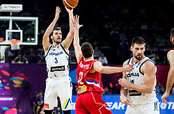 Goran Dragic of Slovenia vs Dragan Milosavljevic of Serbia during the Final basketball match between National Teams  Slovenia and Serbia at Day 18 of the FIBA EuroBasket 2017 at Sinan Erdem Dome in Istanbul, Turkey on September 17, 2017. Photo by Vid Ponikvar / Sportida