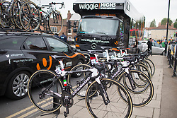 Wiggle Hi5 Cycling Team bikes are lined up before the Tour de Yorkshire - a 122.5 km road race, between Tadcaster and Harrogate on April 29, 2017, in Yorkshire, United Kingdom.