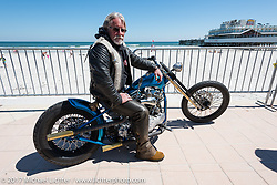 Rick Srpan, father of Jesse Srpan of Raw Iron Choppers, on his custom 1950 Panhead at the Boardwalk bike show during Daytona Beach Bike Week. FL. USA. Friday March 17, 2017. Photography ©2017 Michael Lichter.