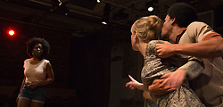 "© Licensed to London News Pictures. 01/11/2012. London, England. L-R: Emmanuella Cole, Sian Breckin and Tunji Kasim. World Premiere of ""but i cd only whisper"", a play by Kristina Colón, directed by Nadia Latif, running at the Arcola Studio 2 from 31 October to 1 December 2012. Photo credit: Bettina Strenske/LNP"