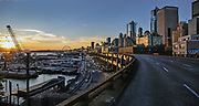 The view from the Viaduct at sunset, July 21, 2018. (Rebekah Welch/The Seattle Times)