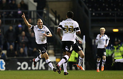 Derby's John Eustace celebrates the first goal - Photo mandatory by-line: Matt Bunn/JMP - Tel: Mobile: 07966 386802 10/02/2014 - SPORT - FOOTBALL - Derby - Pride Park - Derby County v QPR - Sky Bet Championship
