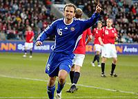 Fotball , 01. april 2009 , Privatkamp , Norge - Finland<br /> Norway - Finland<br /> Jonatan Johansson , Finland jubler for scoring