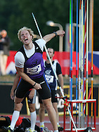 Super 8 athletics at the Cardiff International Stadium on Wed 10th June 2009. Neil Crossley of Newcastle competes in the men's javelin event.